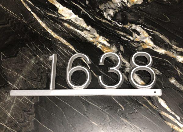 Industrial Aluminum Modern Bar, 1 Line Address Plaque