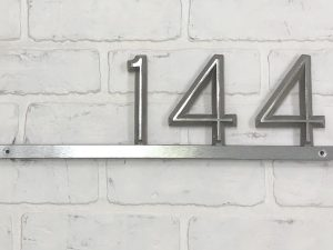 Industrial Aluminum Modern Bar, 1 Line Address Plaque