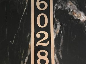 Vertical Bold Brass Donn, 1 Line Address Plaque