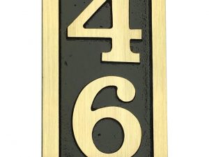 Vertical Bold Brass Palmer, 1 Line Address Plaque