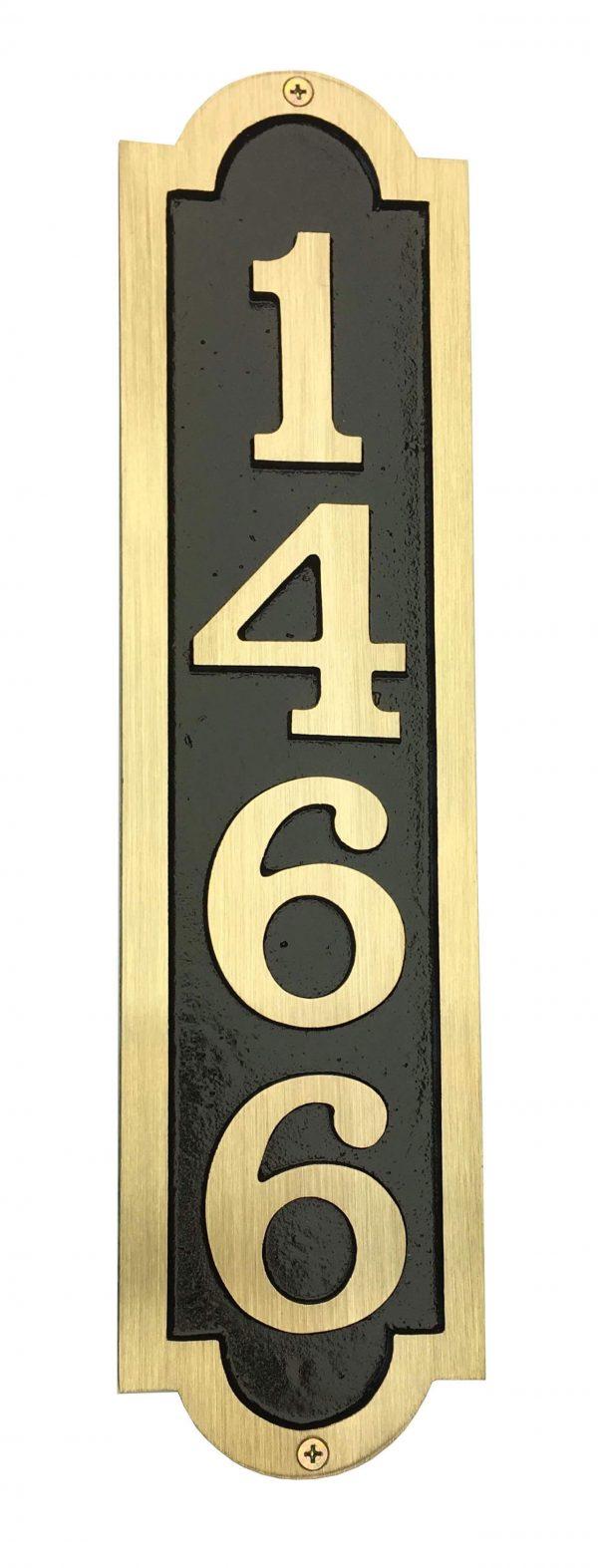 Vertical Bold Brass Palmer, 1 Line Address Plaque