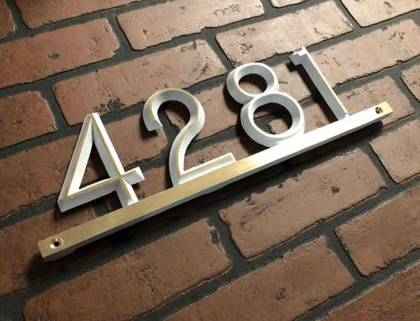Brass Modern Bar, 1 Line Address Plaque