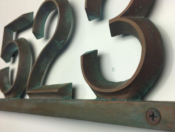 Industrial Brass Modern Bar, 1 Line Address Plaque