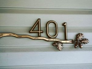 Brass Oak Branch, 1 Line Address Plaque