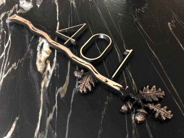 Brass Oak Branch, 1 Line Address Plaque