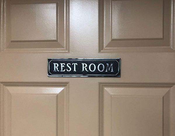 Antiqued Restroom Door Sign