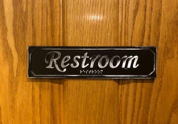 Antiqued Restroom Door Sign with Braille