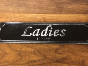 Antiqued Ladies Door Sign with Braille