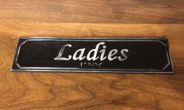 Antiqued Ladies Door Sign with Braille