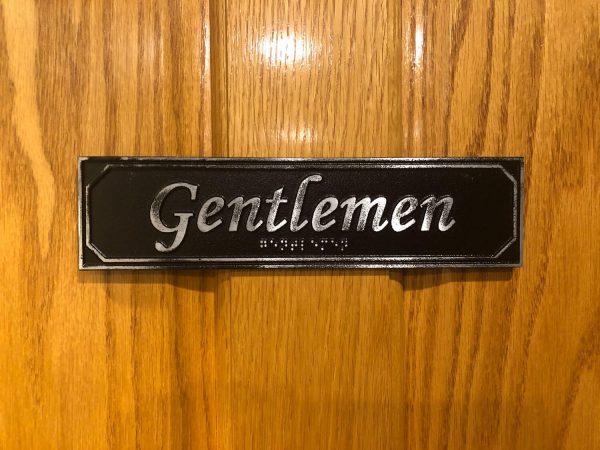 Antiqued Gentlemen Door Sign with Braille