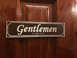 Gentlemen Door Sign with Braille