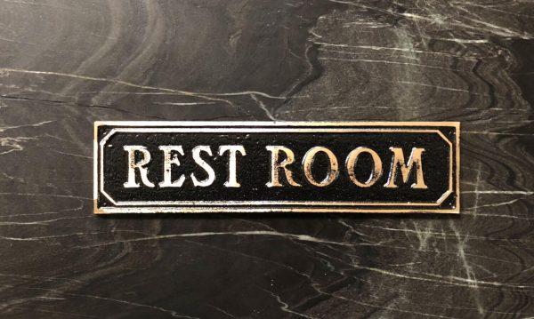 Brass Antiqued Restroom Door Sign