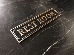 Brass Antiqued Restroom Door Sign