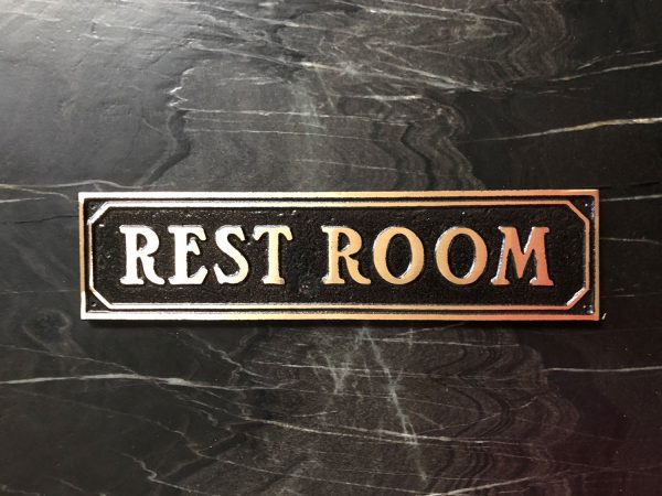 Brass Restroom Door Sign