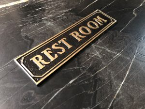 Brass Restroom Door Sign