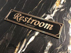 Brass Restroom Door Sign with Braille