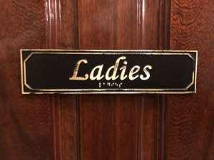 Brass Antiqued Ladies Door Sign with Braille