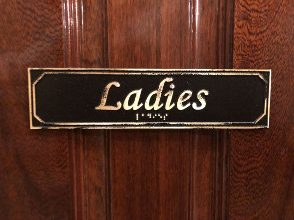 Brass Antiqued Ladies Door Sign with Braille