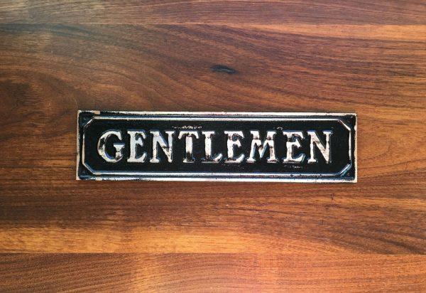 Brass Antiqued Gentlemen Door Sign