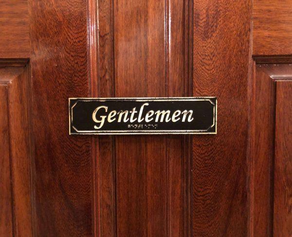 Brass Antiqued Gentlemen Door Sign with Braille