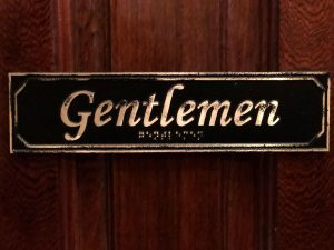 Brass Antiqued Gentlemen Door Sign with Braille