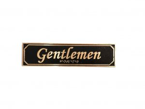 Brass Gentlemen Door Sign with Braille