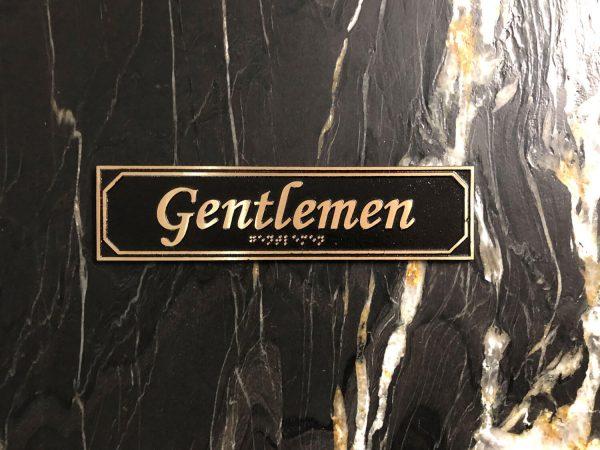 Brass Gentlemen Door Sign with Braille
