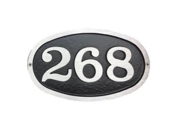Small Bold Oval Address Plaque