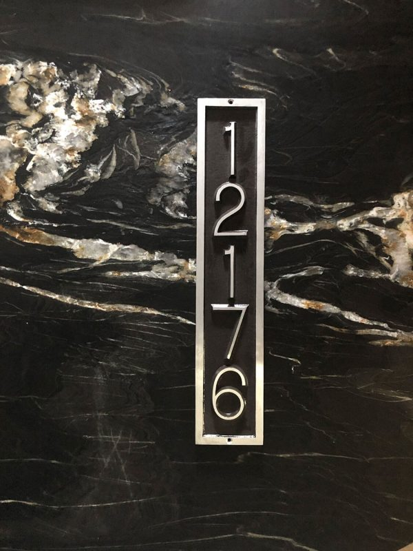 Vertical Five Number Rectangular Address Plaque