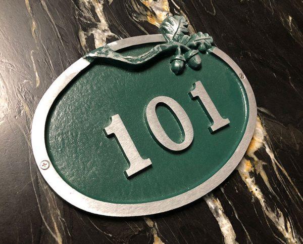 Large Bold Oak Address Plaque