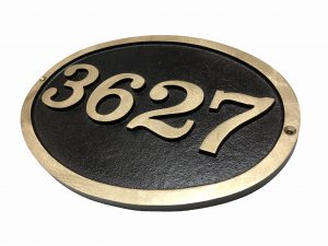 Large Brass Oval, 1 Line Address Plaque