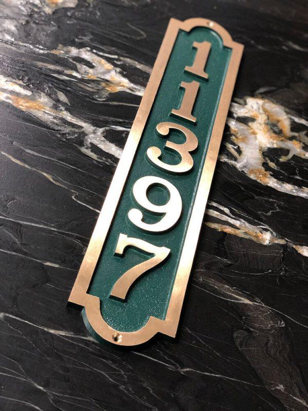 Vertical Bold Palmer Five Number Address Plaque