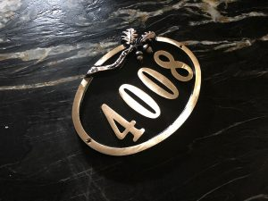 Large Brass Oak Address Plaque