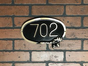 Small Brass Oak Address Plaque