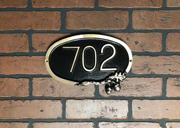 Small Brass Oak Address Plaque