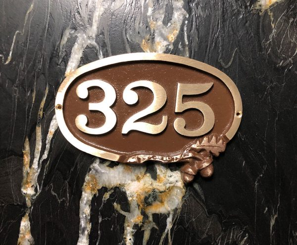 Small Bold Brass Oak Address Plaque