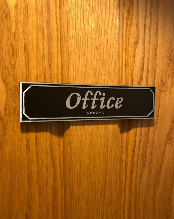 Office Door Sign with Braille