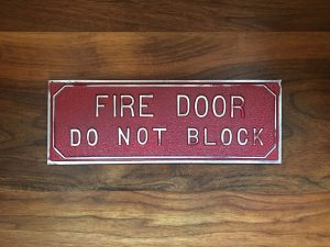 Antique Fire Door Sign
