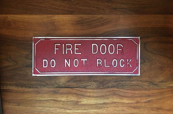 Antique Fire Door Sign